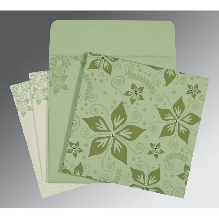 SAGE GREEN MATTE FLORAL THEMED - SCREEN PRINTED WEDDING INVITATION : CI-8240I - IndianWeddingCards