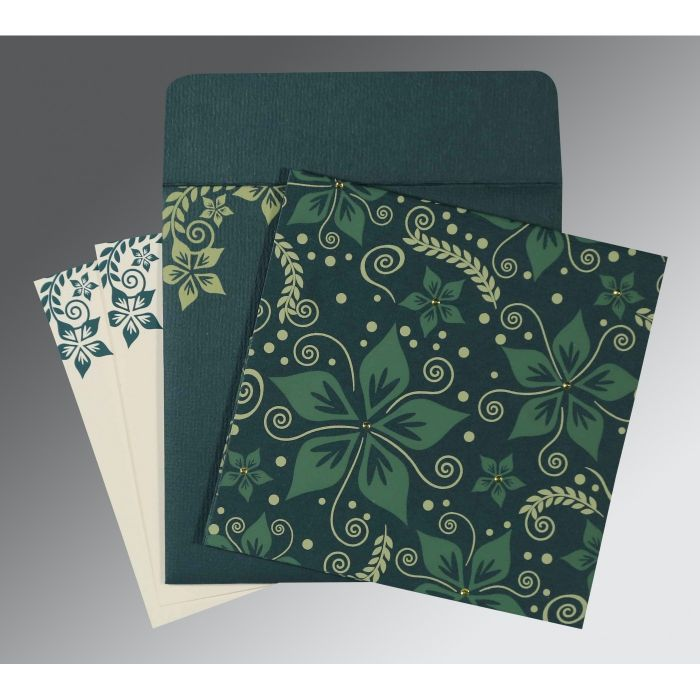 MIDNIGHT GREEN MATTE FLORAL THEMED - SCREEN PRINTED WEDDING INVITATION : CW-8240N - IndianWeddingCards