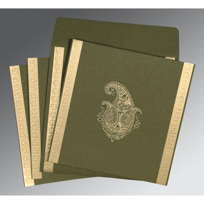DARK OLIVE GREEN MATTE PAISLEY THEMED - EMBOSSED WEDDING INVITATION : CG-8231B - IndianWeddingCards