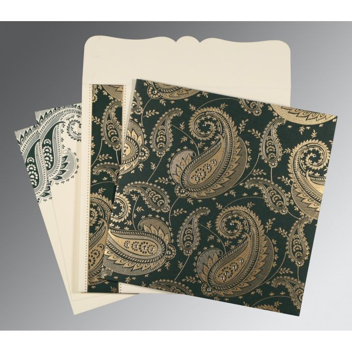 SEA GREEN MATTE PAISLEY THEMED - SCREEN PRINTED WEDDING CARD : CSO-8250C - IndianWeddingCards