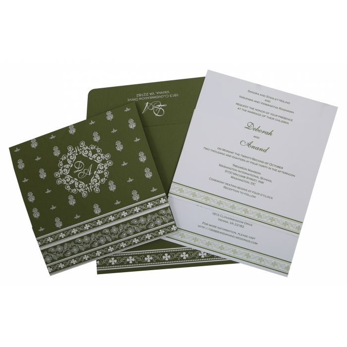 GREEN MATTE SCREEN PRINTED WEDDING INVITATION : CSO-808A - IndianWeddingCards