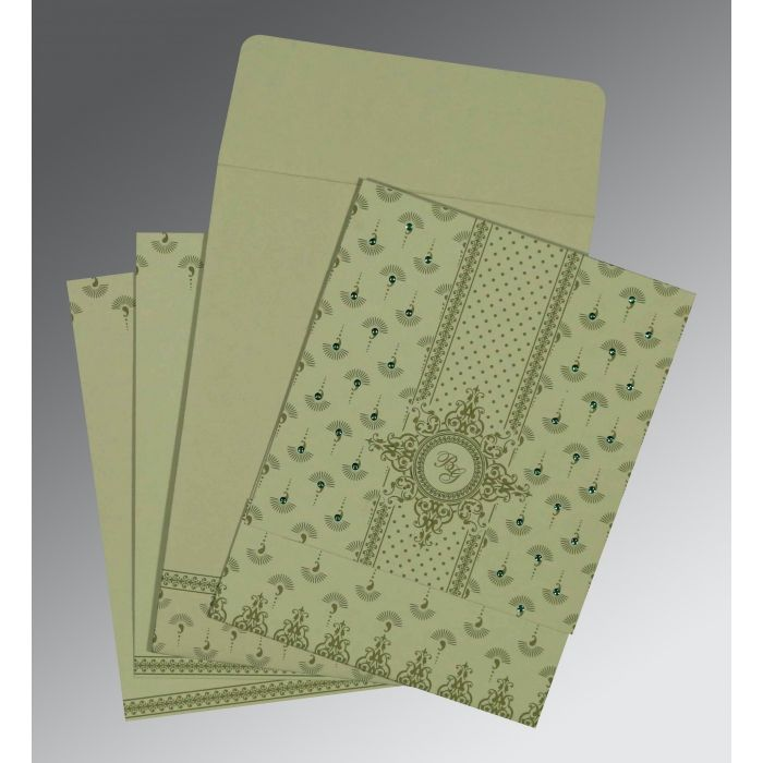 SAGE GREEN MATTE SCREEN PRINTED WEDDING INVITATION : CD-8247L - IndianWeddingCards
