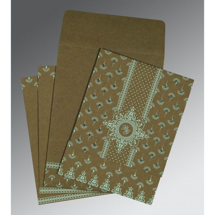 DARK OLIVE GREEN MATTE SCREEN PRINTED WEDDING INVITATION : CS-8247E - IndianWeddingCards