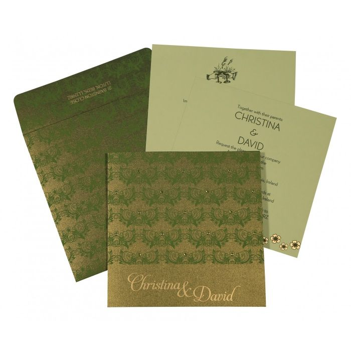 DARK GREEN SHIMMERY BUTTERFLY THEMED - SCREEN PRINTED WEDDING CARD : CW-8258B - IndianWeddingCards