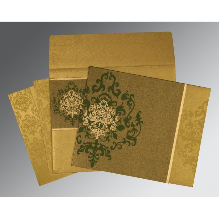 GREEN SHIMMERY DAMASK THEMED - SCREEN PRINTED WEDDING CARD : C-8253C - 123WeddingCards