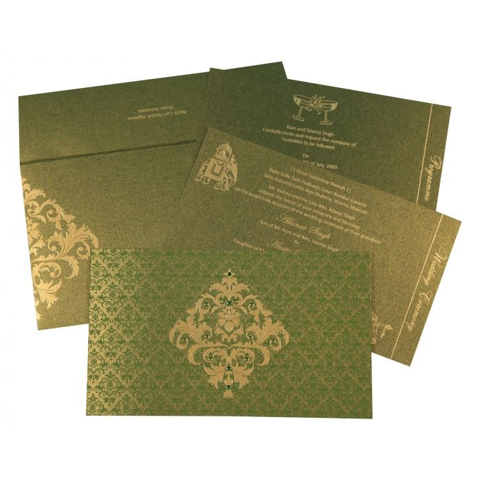 DEEP SAGE SHIMMERY DAMASK THEMED - SCREEN PRINTED WEDDING CARD : CIN-8257A - IndianWeddingCards