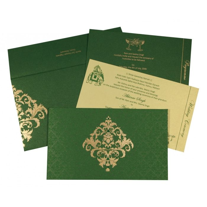 DARK GREEN SHIMMERY DAMASK THEMED - SCREEN PRINTED WEDDING CARD : RU-8257F - 123WeddingCards