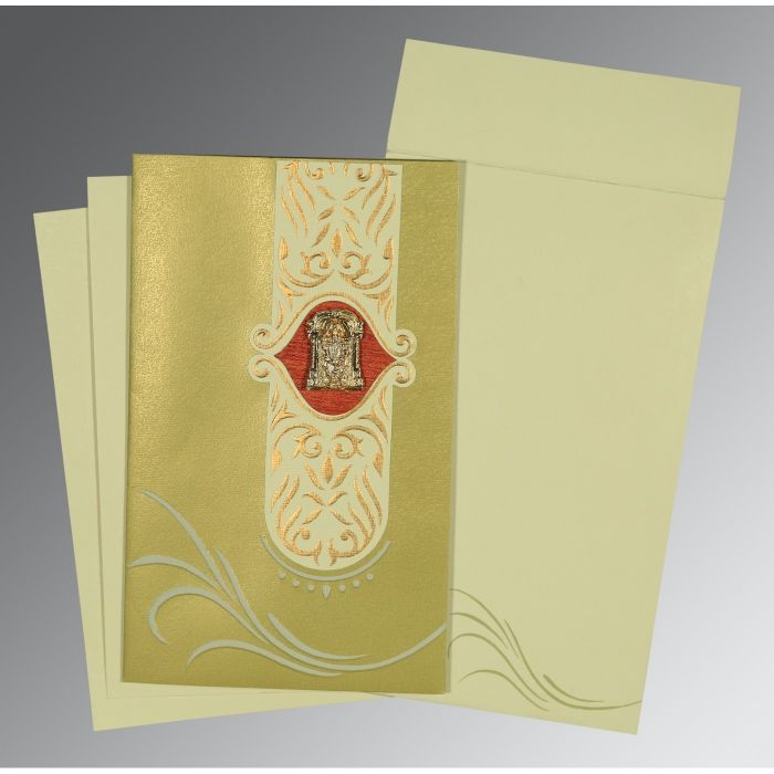 APPLE GREEN MATTE EMBOSSED WEDDING CARD : CSO-1317 - IndianWeddingCards