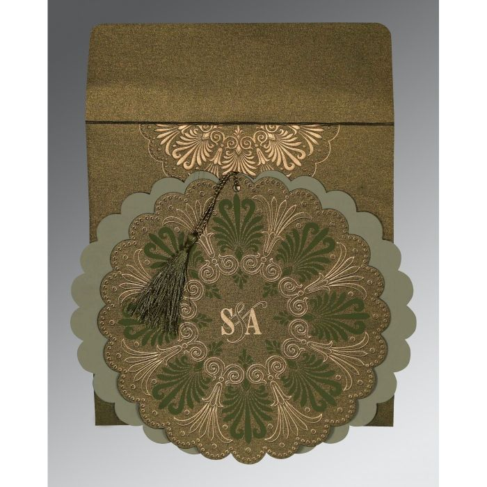 DARK OLIVE GREEN SHIMMERY FLORAL THEMED - EMBOSSED WEDDING CARD : CSO-8238K - IndianWeddingCards