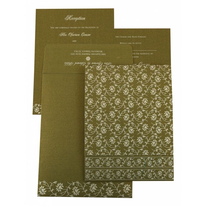 GREEN SHIMMERY FLORAL THEMED - SCREEN PRINTED WEDDING INVITATION : C-822A - 123WeddingCards