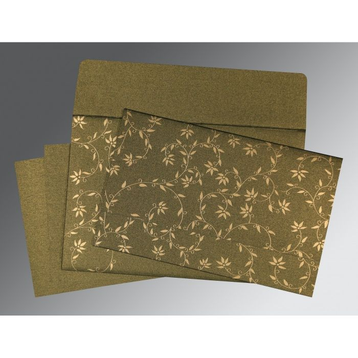 DARK BROWN SHIMMERY FLORAL THEMED - SCREEN PRINTED WEDDING INVITATION : C-8226Q - 123WeddingCards