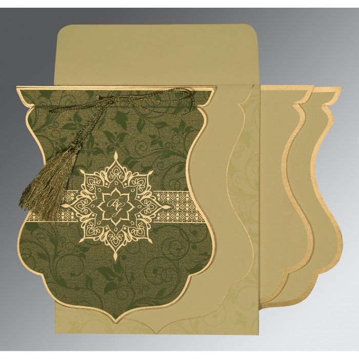 OLIVE GREEN SHIMMERY FLORAL THEMED - SCREEN PRINTED WEDDING CARD : CRU-8229P - IndianWeddingCards