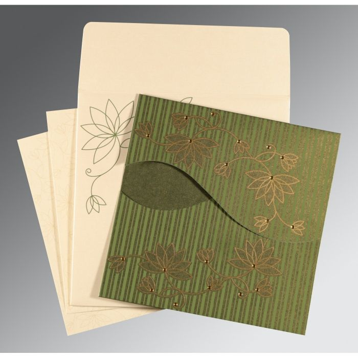 GREEN SHIMMERY FLORAL THEMED - SCREEN PRINTED WEDDING INVITATION : CRU-8251K - IndianWeddingCards
