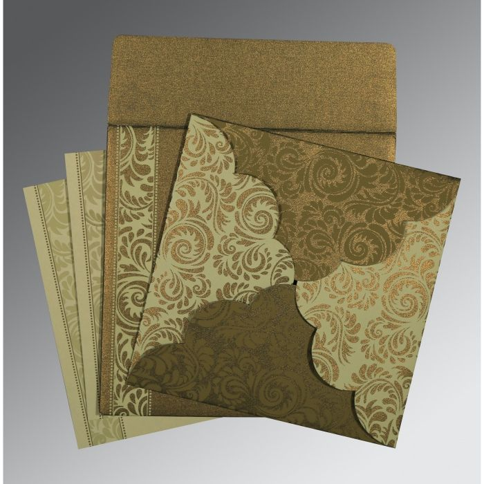 GREEN SHIMMERY FLORAL THEMED - SCREEN PRINTED WEDDING CARD : CS-8235A - IndianWeddingCards
