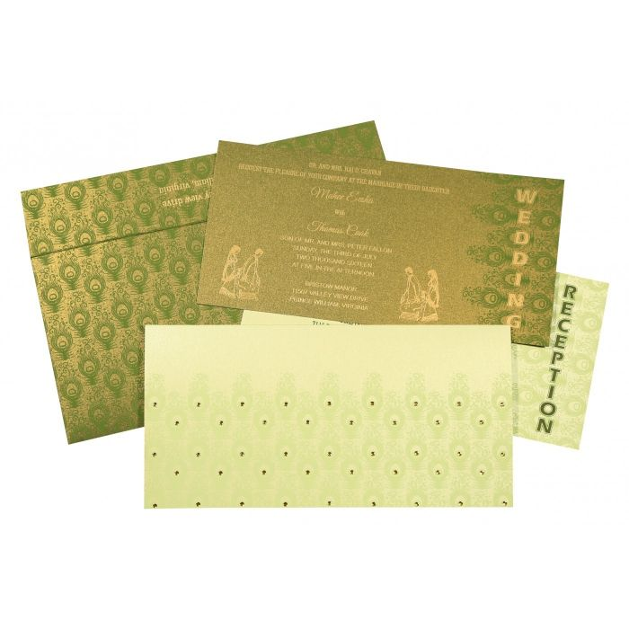 PALE YELLOW SHIMMERY PEACOCK THEMED - SCREEN PRINTED WEDDING INVITATION : CG-8256F - IndianWeddingCards