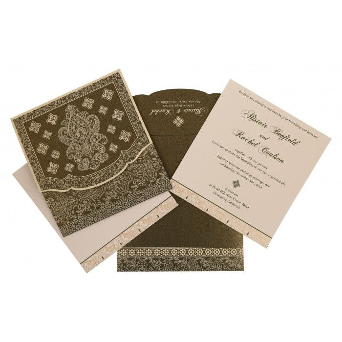 DEEP SAGE SHIMMERY SCREEN PRINTED WEDDING INVITATION : CI-800A - IndianWeddingCards