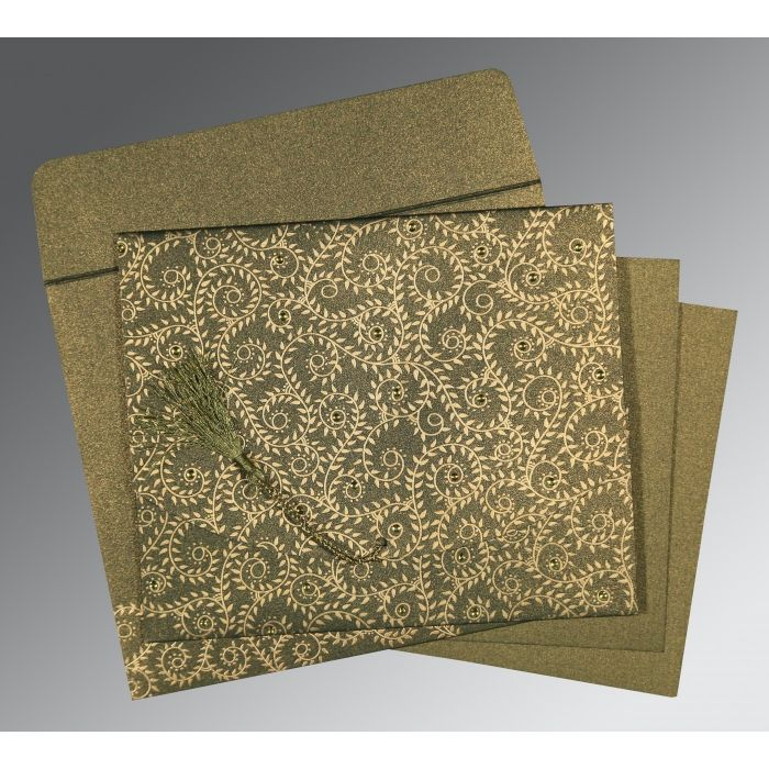 DEEP SAGE SHIMMERY SCREEN PRINTED WEDDING INVITATION : CI-8217H - IndianWeddingCards