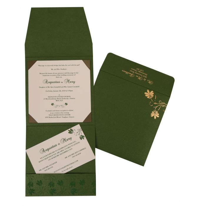GREEN SHIMMERY SCREEN PRINTED WEDDING INVITATION : CRU-803B - IndianWeddingCards