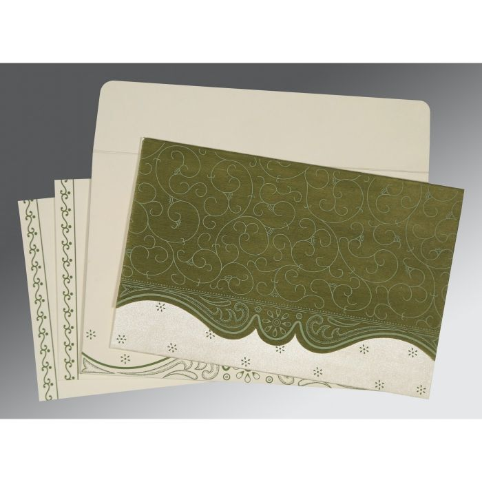 DEEP SAGE MATTE EMBOSSED WEDDING INVITATION : CW-8221D - IndianWeddingCards