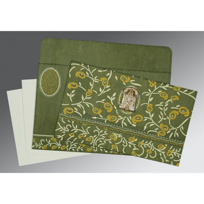 DEEP SAGE WOOLY FLORAL THEMED - GLITTER WEDDING CARD : CSO-8206D - IndianWeddingCards