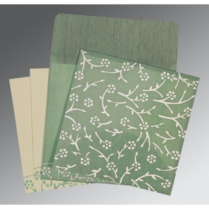 SAGE GREEN WOOLY FLORAL THEMED - SCREEN PRINTED WEDDING INVITATION : C-8216F - 123WeddingCards