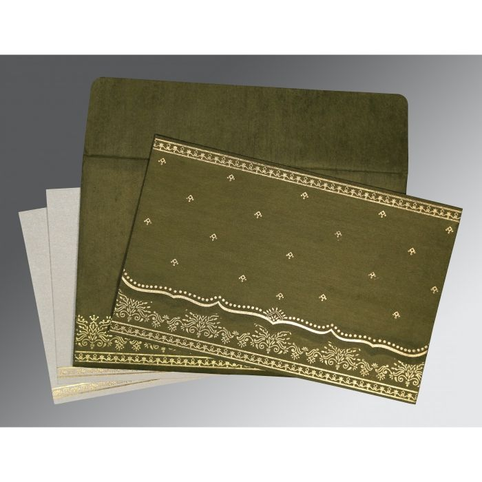 DARK OLIVE GREEN WOOLY FOIL STAMPED WEDDING INVITATION : D-8241L - 123WeddingCards