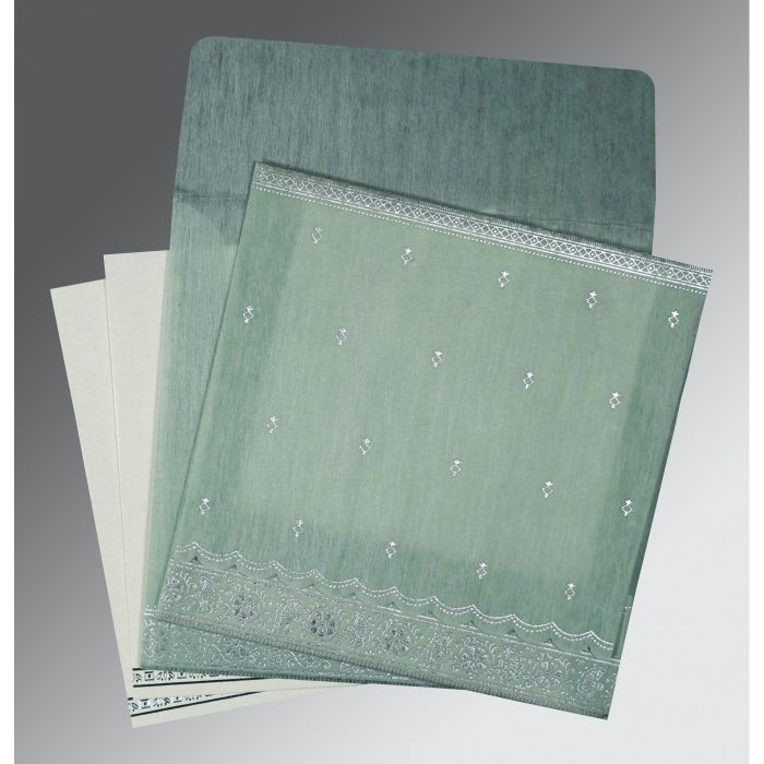 SAGE GREEN WOOLY FOIL STAMPED WEDDING CARD : CD-8242K - IndianWeddingCards