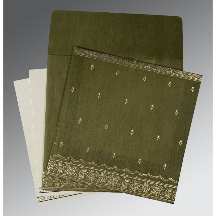 DARK OLIVE GREEN WOOLY FOIL STAMPED WEDDING CARD : CD-8242O - IndianWeddingCards