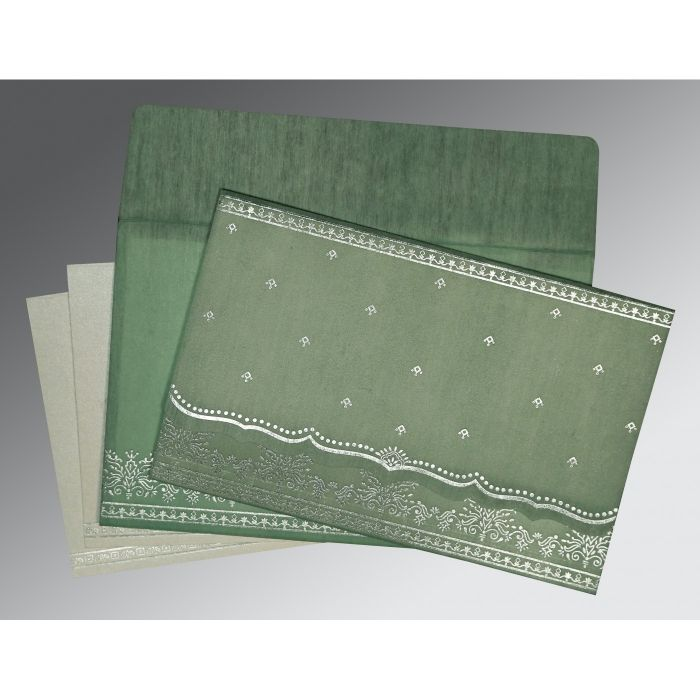 SAGE GREEN WOOLY FOIL STAMPED WEDDING INVITATION : CS-8241C - IndianWeddingCards