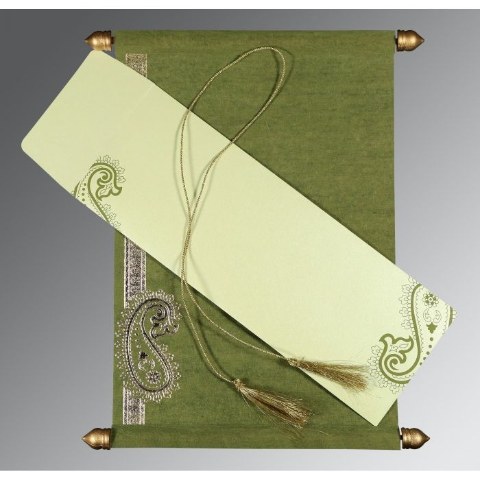 DEEP SAGE WOOLY FOIL STAMPED WEDDING CARD : SC-5015I - 123WeddingCards