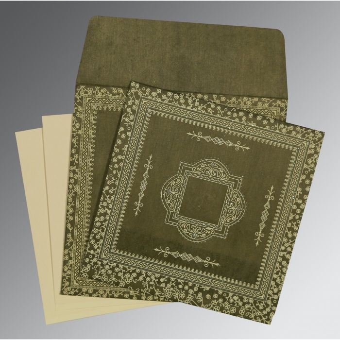 DEEP SAGE WOOLY GLITTER WEDDING CARD : CD-8205G - IndianWeddingCards