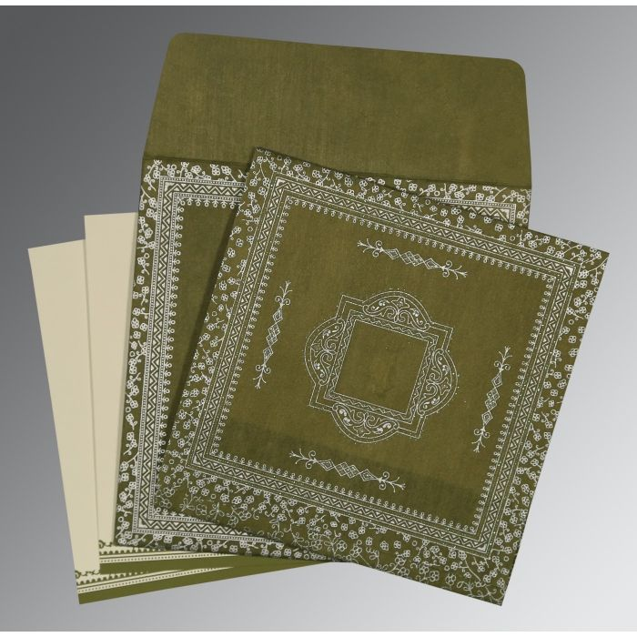 DEEP SAGE WOOLY GLITTER WEDDING CARD : D-8205Q - 123WeddingCards