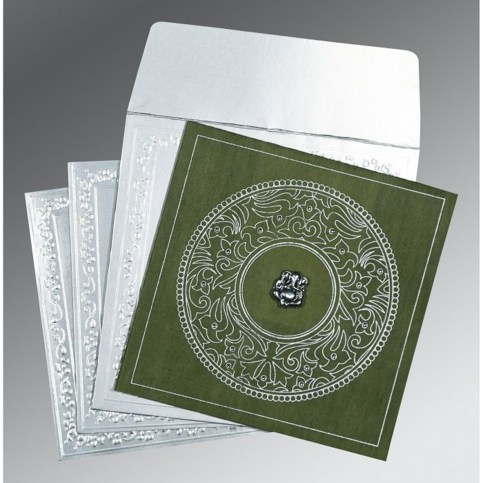 DARK GREEN WOOLY SCREEN PRINTED WEDDING CARD : IN-8214L - 123WeddingCards