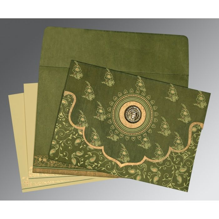 MOSS GREEN WOOLY SCREEN PRINTED WEDDING INVITATION : CS-8207H - IndianWeddingCards