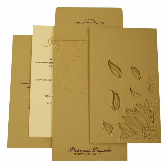 GREY MATTE LASER CUT WEDDING INVITATION : C-1925 - 123WeddingCards