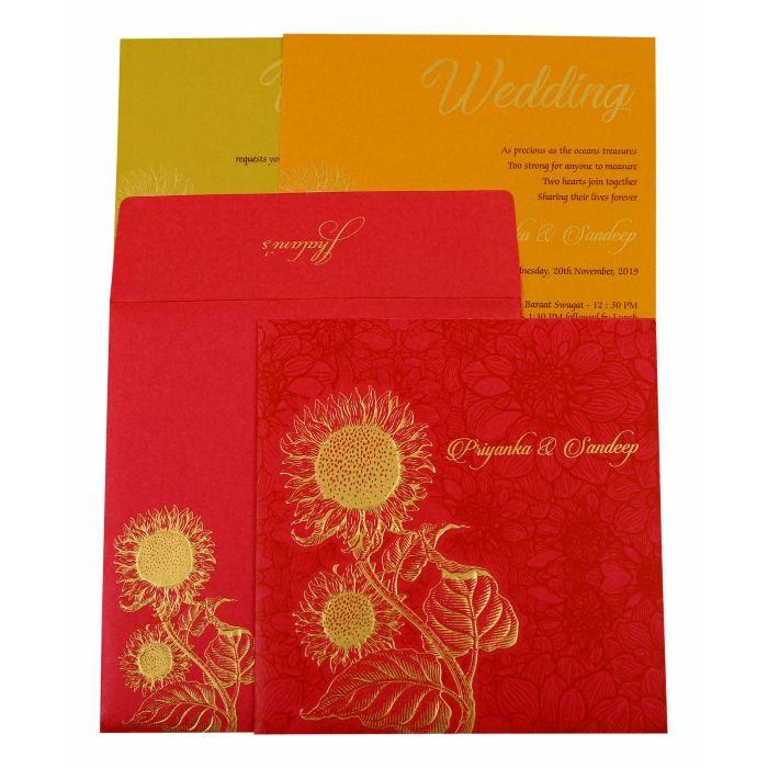 HOT PINK SHIMMERY FLORAL THEMED - EMBOSSED WEDDING INVITATION : CW-1898 - IndianWeddingCards