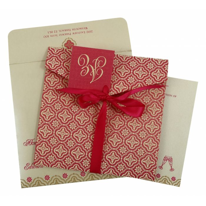 HOT PINK SHIMMERY SCREEN PRINTED WEDDING INVITATION : D-805A - 123WeddingCards