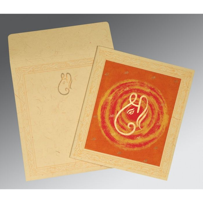 BEIGE ORANGE HANDMADE COTTON EMBOSSED WEDDING CARD : IN-2162 - 123WeddingCards