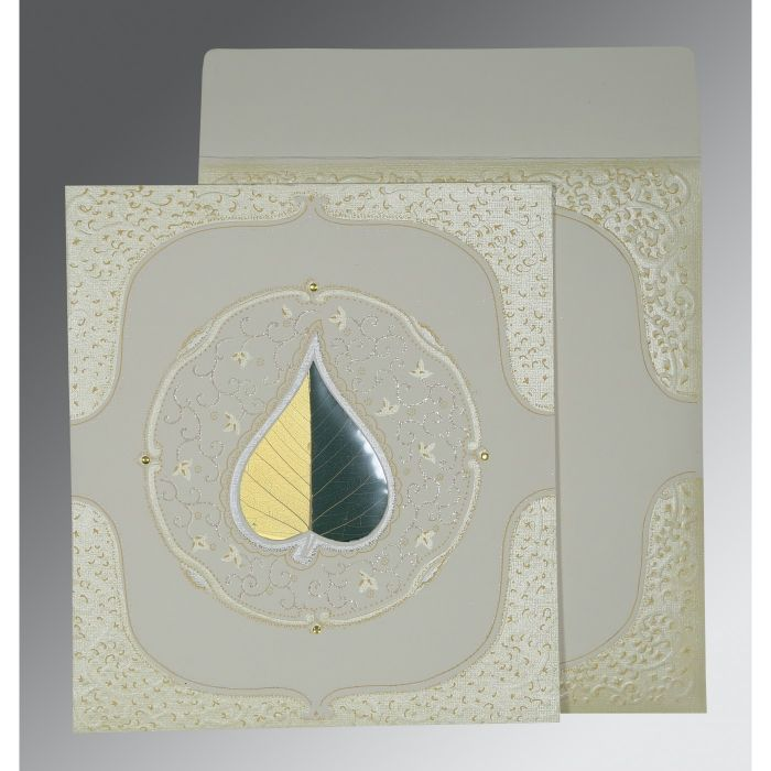OFF-WHITE MATTE EMBOSSED WEDDING CARD : CD-1153 - IndianWeddingCards