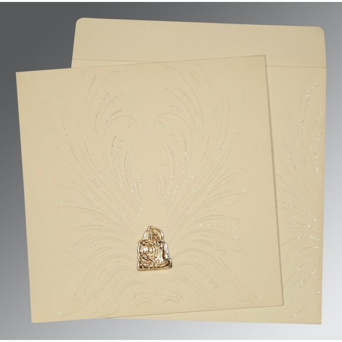 IVORY MATTE EMBOSSED WEDDING INVITATION : G-1188 - 123WeddingCards