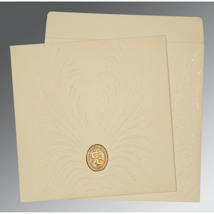 IVORY MATTE EMBOSSED WEDDING INVITATION : CI-1188 - IndianWeddingCards