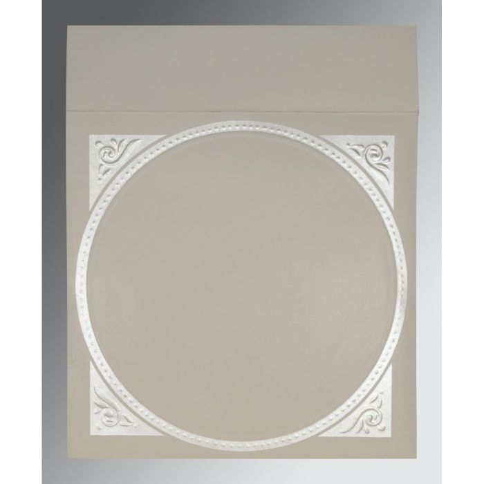 PALE SILVER MATTE EMBOSSED WEDDING CARD : IN-2015 - 123WeddingCards
