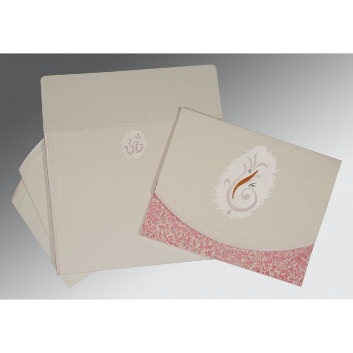 OFF-WHITE MATTE EMBOSSED WEDDING INVITATION : IN-2163 - 123WeddingCards