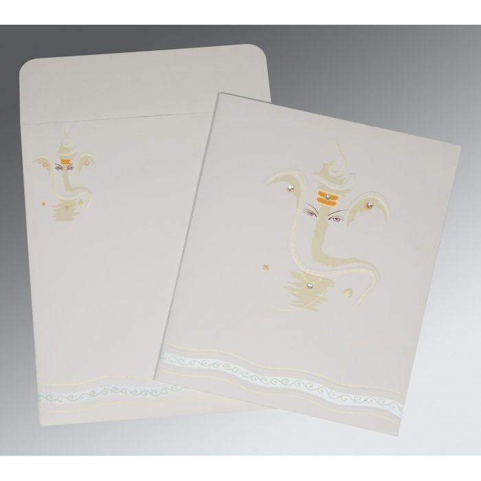 OFF-WHITE MATTE EMBOSSED WEDDING CARD : IN-2169 - 123WeddingCards