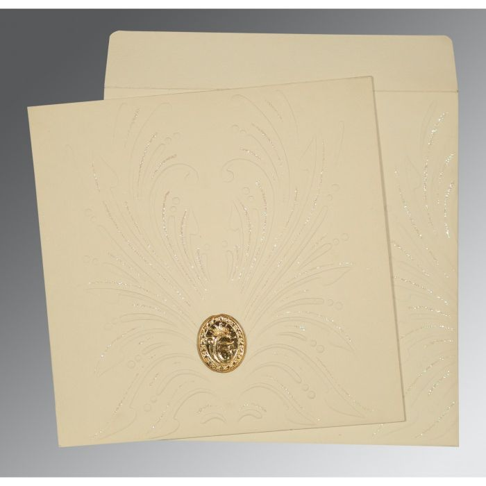 IVORY MATTE EMBOSSED WEDDING INVITATION : RU-1188 - 123WeddingCards