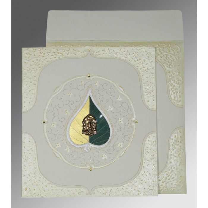 OFF-WHITE MATTE EMBOSSED WEDDING CARD : W-1153 - 123WeddingCards