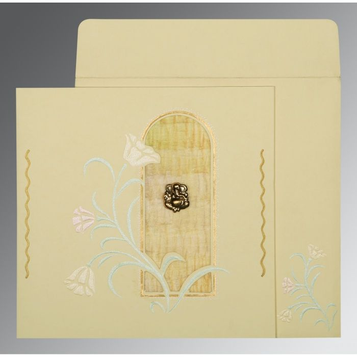 CREAM MATTE EMBOSSED WEDDING CARD : CW-1203 - IndianWeddingCards