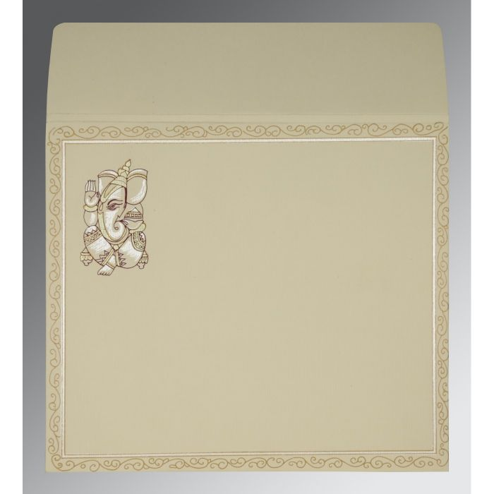 CREAM MATTE EMBOSSED WEDDING CARD : CW-2005 - IndianWeddingCards