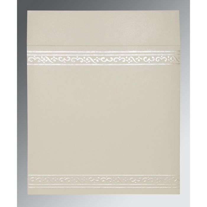 OFF-WHITE MATTE EMBOSSED WEDDING INVITATION : CW-2016 - IndianWeddingCards