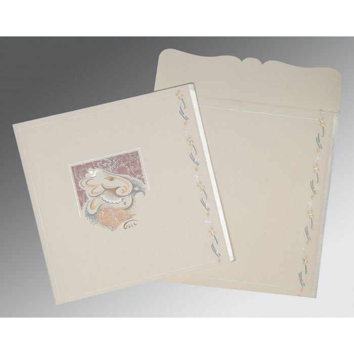 OFF-WHITE MATTE EMBOSSED WEDDING CARD : CW-2154 - IndianWeddingCards